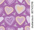 purple seamless pattern with hearts and flowers - stock vector