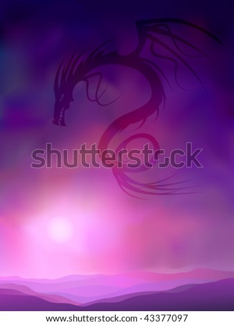 Purple shadow dragon silhouette in the evening sky (other landscapes are in my gallery)