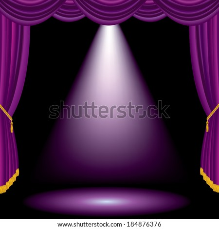 purple spot on violet stage - stock vector