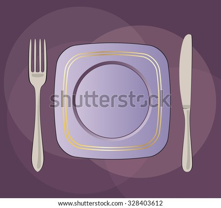 Purple square plate, knife and fork vector illustration.