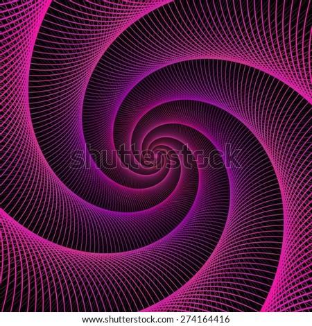 Purple string spiral fractal design - stock vector
