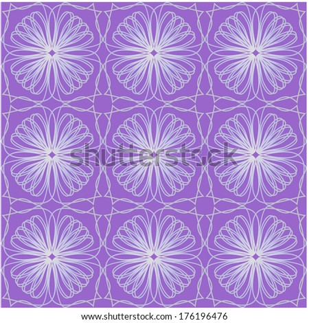 Purple tile with geometric seamless ornament