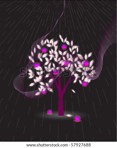 Purple tree with apples. Eps 10