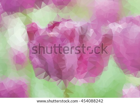 Purple tulips background in triangle style  - stock vector