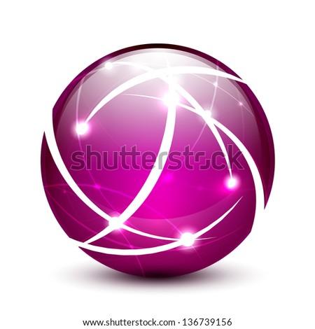 Purple vector communication globe icon concept design - stock vector