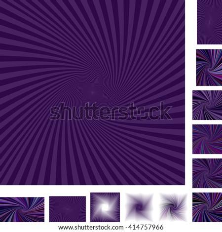 Purple vector spiral design background set. Different color, gradient, screen, paper size versions. - stock vector