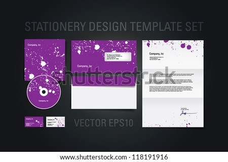 Purple vector stationery design template set with paint splatters