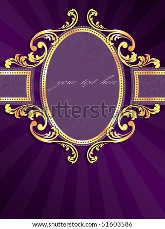 Purple vertical label with gold filigree (Eps10); JPG version also available - stock vector