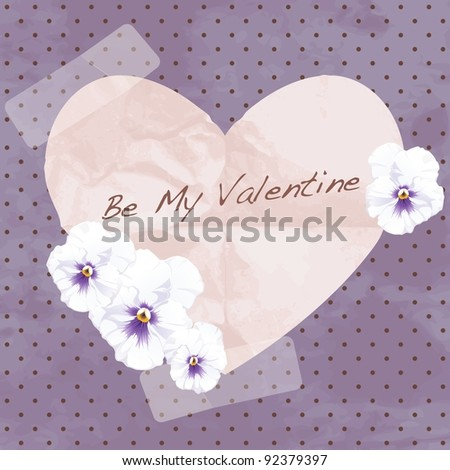 Purple vintage banner with a paper heart (eps10); jpg version also available - stock vector