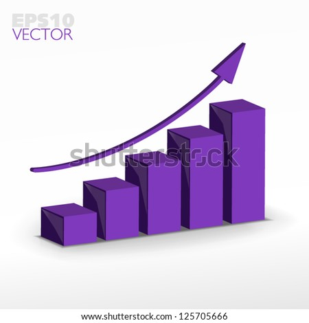 Purple violet Growth graph - stock vector