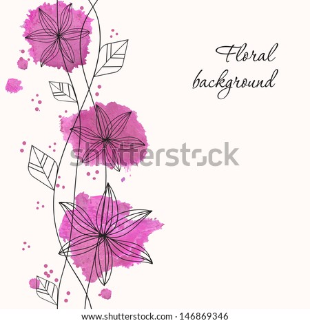 Purple watercolor flowers. Vector illustration for your design - stock vector