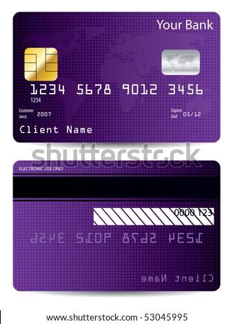 Purple world credit card - stock vector