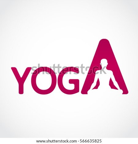 Purple Yoga Text With Pose Letter