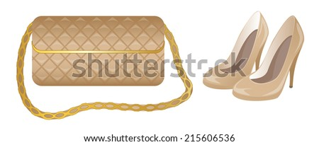 Purse and shoes - stock vector