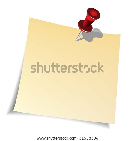 Push Pin and Paper Note - stock vector