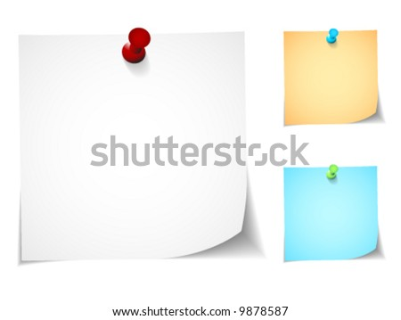 Push pin notes in three colors of each note and pin - stock vector