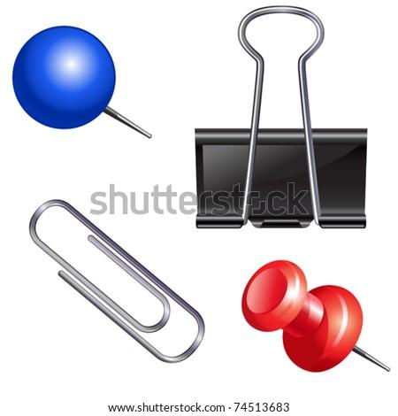 Push pin set. Thumbtack, fastener, clip. - stock vector