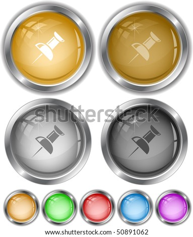Push pin. Vector internet buttons. - stock vector