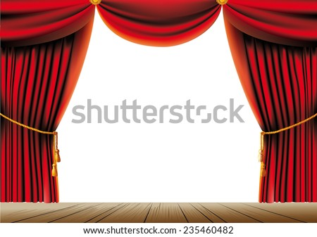 push the red theater curtain with tassels and cord and empty space in the center - stock vector