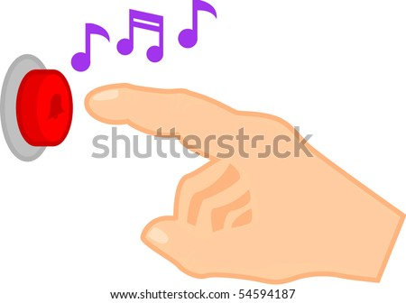 pushing a door bell button - stock vector