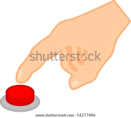 pushing a red button - stock vector