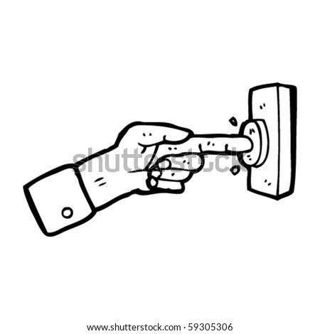 pushing button cartoon - stock vector