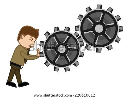 Pushing Gears - Vector Character Cartoon Illustration - stock vector