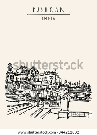 Pushkar, Rajasthan, India. Brahma ghat. Black and white vintage touristic postcard, poster template, calendar page idea. Sketchy hand drawing and hand lettered title