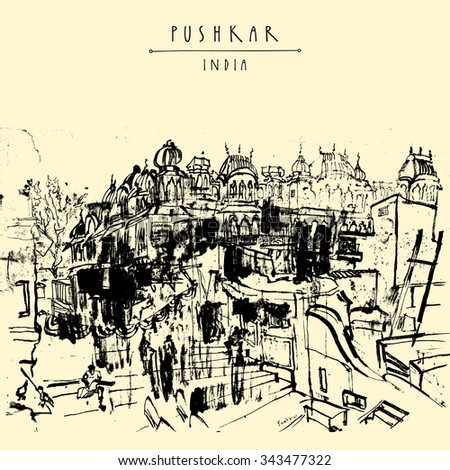 Pushkar, Rajasthan, India. Vintage artistic drawing. Travel sketch. Black and white poster, postcard template with Pushkar India hand lettering. Calendar or book in vector illustration