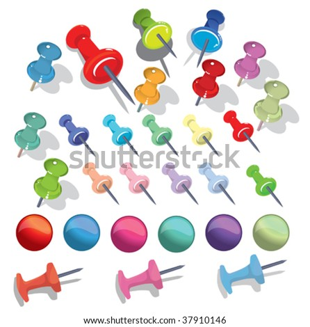 pushpin fullcolor set - stock vector