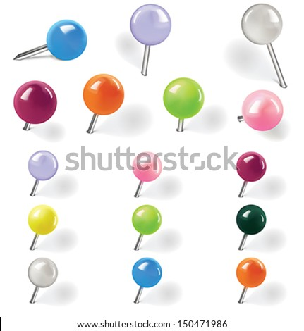 Pushpins on white background. Vector illustration - stock vector
