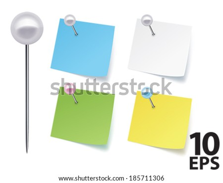 Pushpins with paper. Vector illustration - stock vector