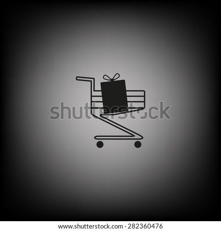 put in shopping cart. icon. vector design