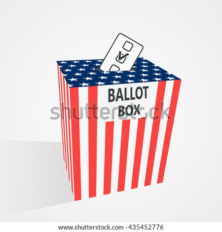 Putting voting paper in the ballot box - stock vector