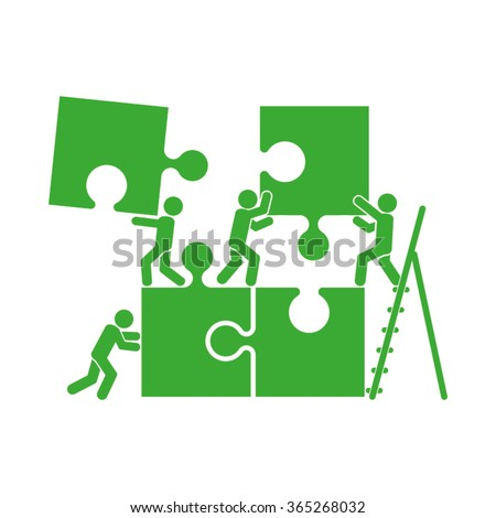 puzzle and people illustration - stock vector