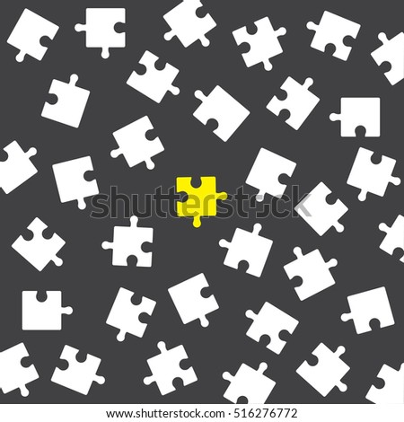 Puzzle background in grey. Unique yellow puzzle on the grey background.  Set of white pazzle isolated on grey background. Stock vector. Flat design.