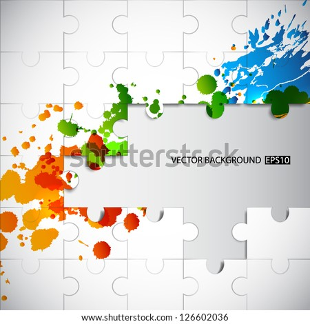 Puzzle background with splashes. EPS10 vector - stock vector