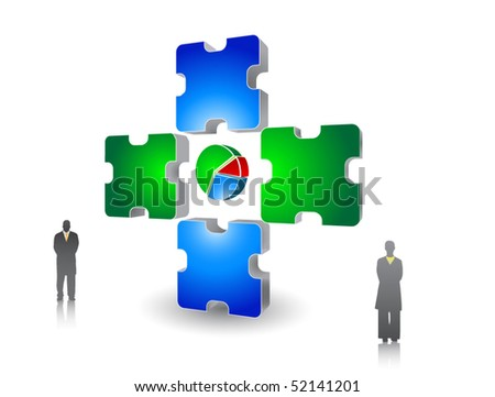 Puzzle, Chart and Business People - stock vector