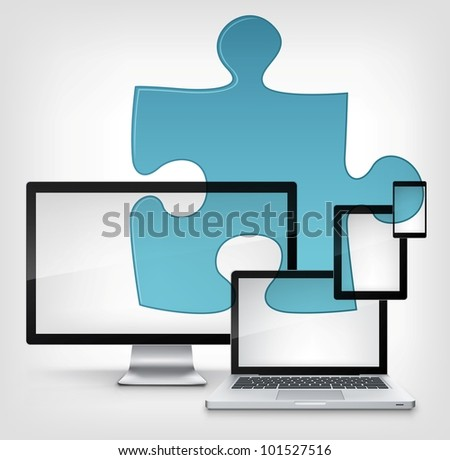Puzzle Concept. Information Medium on Grey Gradient Background. Vector. - stock vector