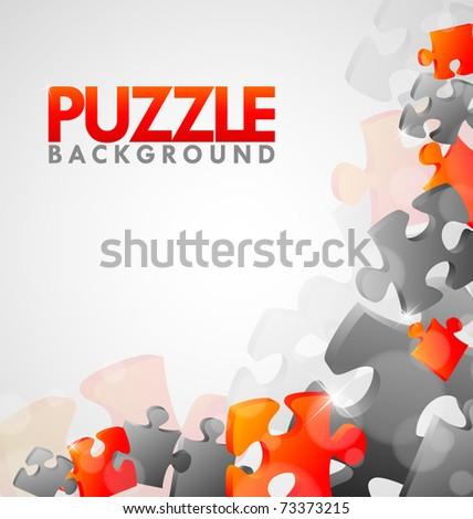 Puzzle Corner Design Vector - stock vector