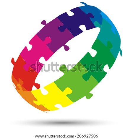 Puzzle 3D Circle colored