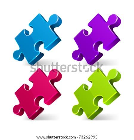 Puzzle 3d pie vector icons set. Eps 10. - stock vector