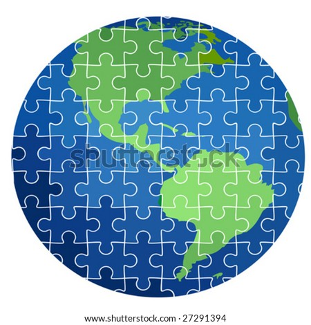 puzzle earth planet - stock vector