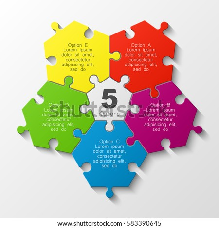 Puzzle Five Piece Business Presentation Circle Infograph 5 Step Round Process Diagram Section