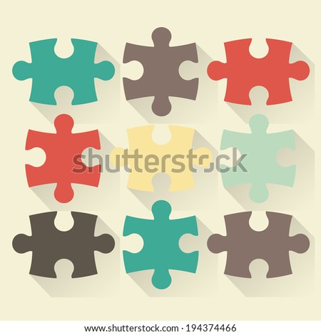 Puzzle flat vector illustration - stock vector