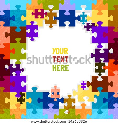 puzzle game color background vector - stock vector