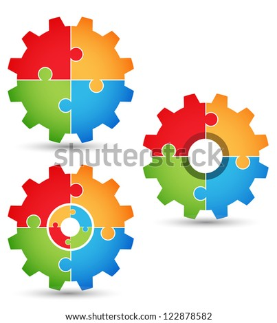 Puzzle - gears 1 - stock vector