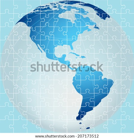 Puzzle. Global Continent view