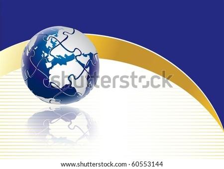 Puzzle globe concept in editable vector format - stock vector