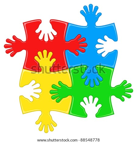puzzle hands - stock vector